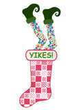 Christmas stockings Funny. Funny Christmas stocking - elf legs falling into Christmas stocking Royalty Free Stock Photo