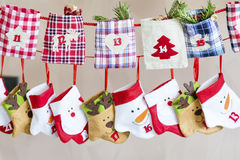 Christmas Stockings for gifts - close up Royalty Free Stock Photography