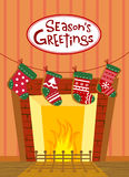 Christmas stockings, greeting card Stock Photography