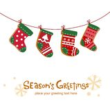 Christmas stockings, greeting card. Cute background for banners, backgrounds, decorations Stock Image