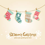 Christmas stockings, greeting card. Cute background with hanging stockings for banners, backgrounds, decorations Royalty Free Stock Photos