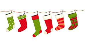 Christmas stockings. Hanging  New year decorations for gifts. Illustration Stock Images