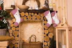 Christmas Stockings Hanging from Rustic Mantle Royalty Free Stock Image