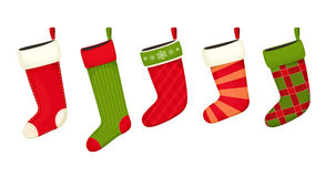 Christmas stockings red green colors. Hanging holiday decorations for gifts Stock Photography