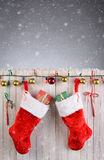 Christmas Stockings Rustic Fence Stock Photography