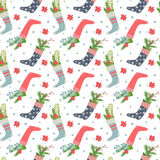 Christmas stockings seamless pattern Royalty Free Stock Photography