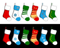Christmas Stockings Set. Six colorful Christmas stockings isolated on white (with contour) and black background. Eps file available Royalty Free Stock Photography