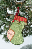 Christmas Stockings and snow, vertical. For gifts, Decoration on Christmas Tree Stock Images