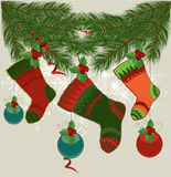 Christmas Stockings on Strings. Illustration background Stock Image