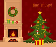 Christmas stockings. Christmas tree by the fireplace illustration made in flat style Stock Photography