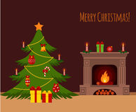 Christmas stockings. Christmas tree by the fireplace illustration made in flat style Stock Images