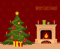 Christmas stockings. Christmas tree by the fireplace illustration made in flat style Royalty Free Stock Photo