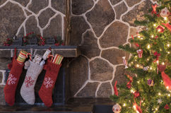Christmas stockings and tree Royalty Free Stock Image