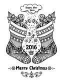 Christmas Stocks with gift package  in Zen-doodle style black on white Stock Photos