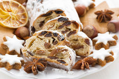 Christmas Stollen, assorted cookies and spices Stock Photos
