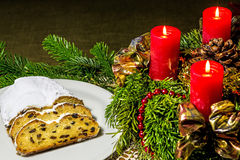 Christmas stollen bakery with Advent wreath Royalty Free Stock Photos