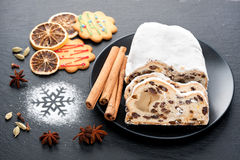 Christmas Stollen on a black background Royalty Free Stock Photo