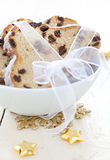 Christmas stollen in bowl Royalty Free Stock Photography