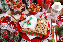 Christmas stollen cake on festive table Stock Image
