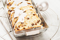 Christmas stollen cake on a metal tray Stock Image