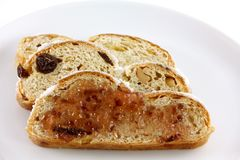 Christmas stollen cake with raisin Stock Image