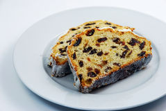 Christmas stollen cake with raisins Stock Photography