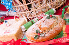 Christmas stollen and coconut cake close up Royalty Free Stock Image