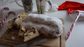 Christmas Stollen, cookies and spices, close-up, horizontal stock footage