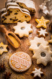 Christmas stollen with cookies Royalty Free Stock Images
