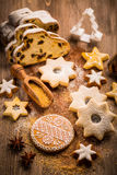 Christmas stollen with cookies Stock Photography