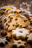 Christmas stollen with cookies Stock Photos