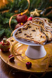 Christmas stollen with cookies Royalty Free Stock Photo