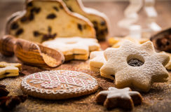 Christmas stollen with cookies Stock Image