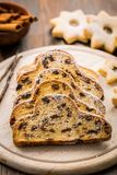 Christmas stollen with cookies Royalty Free Stock Photography