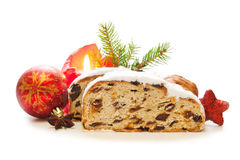 Christmas stollen and decoration . Christmas stollen and decoration isolated on white background.Christmas background Stock Photography
