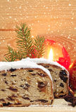 Christmas stollen and decoration . Stock Images