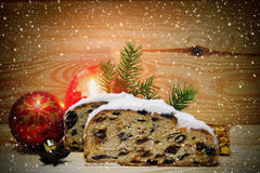 Christmas stollen and decoration . Royalty Free Stock Images