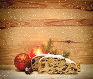 Christmas stollen and decoration . Royalty Free Stock Photos