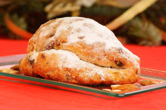 Christmas stollen the german fruit cake Stock Photography