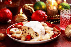 Christmas stollen with gingerbread Royalty Free Stock Image