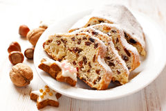 Christmas stollen with icing sugar Royalty Free Stock Photography