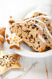 Christmas stollen with icing sugar Stock Photography