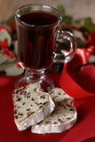 Christmas stollen and mulled wine Stock Photography