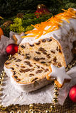 Christmas Stollen with orange julienne Stock Images