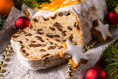Christmas Stollen with orange julienne Royalty Free Stock Images