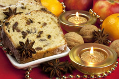 Christmas stollen with several ingredients Royalty Free Stock Photography
