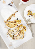 Christmas Stollen and silverware Royalty Free Stock Photography