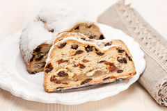 Christmas stollen sliced Stock Image