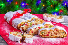 Christmas Stollen, traditional german christmas cake with dried Royalty Free Stock Image