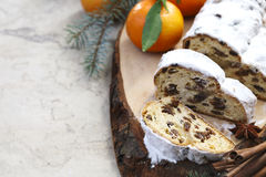 Christmas stollen. Traditional German festive baking. Selective Royalty Free Stock Photo